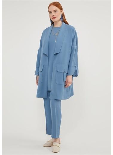 Aker Aker V27860143 Gömlek Yaka Uzun Kol  Kadın Bluz Mavi